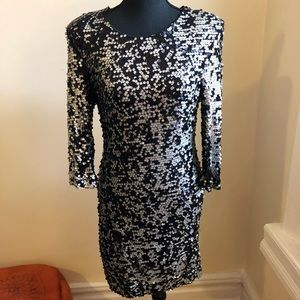French Connection Silver & Black Sequin Dress